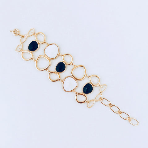 Cayman Mother of Pearl & Black Agate Gold Bracelet