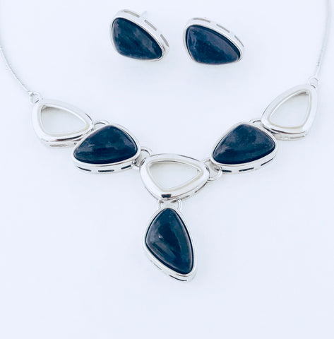 Tokyo Blue Sodalite Rhodium Necklace & Earring Set
