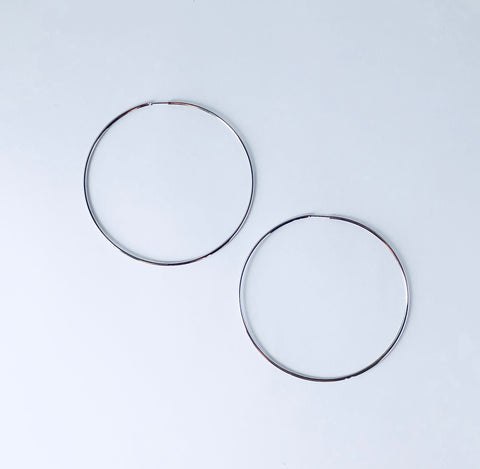 Austin Large Hoop Rhodium Earring
