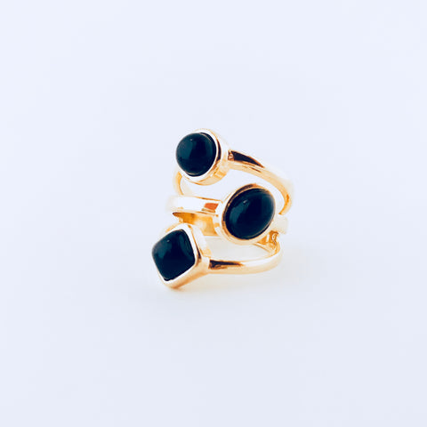 London Black Agate Ring