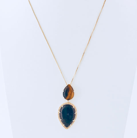 Barcelona Tiger's Eye & Smoky Obsidian Necklace