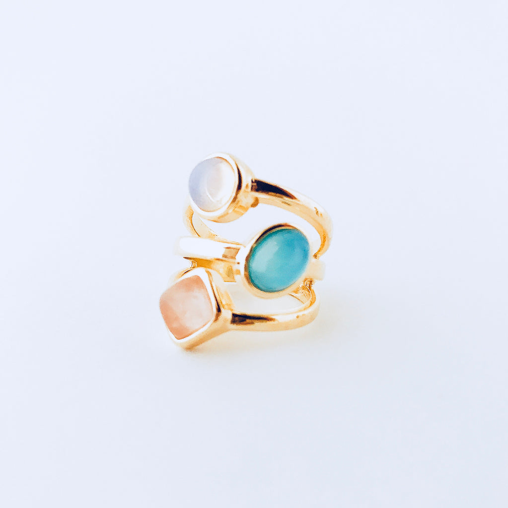 London Opaline, Blue Sky Agate & Pink Quartz Ring