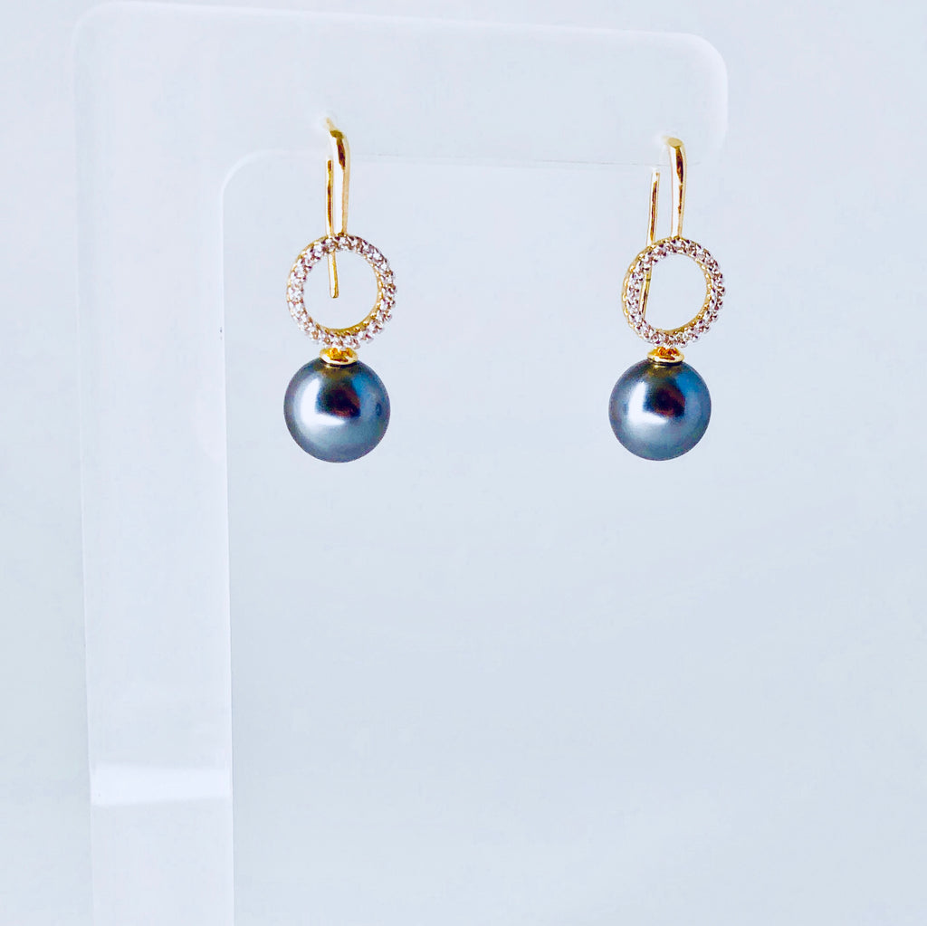 NYC Black Shell Pearl & Zirconia Earring
