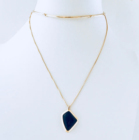 NYC Black Agate Gold Necklace
