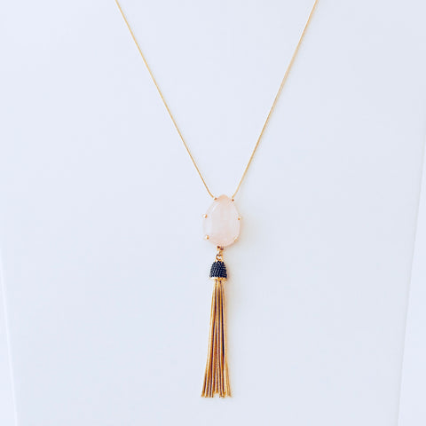 NYC Pink Quartz Tassel Necklace