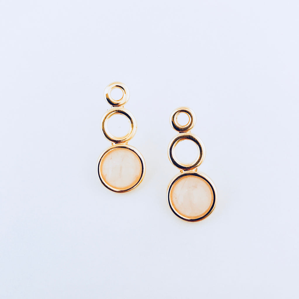 Mykonos Pink Quartz Circle Earring