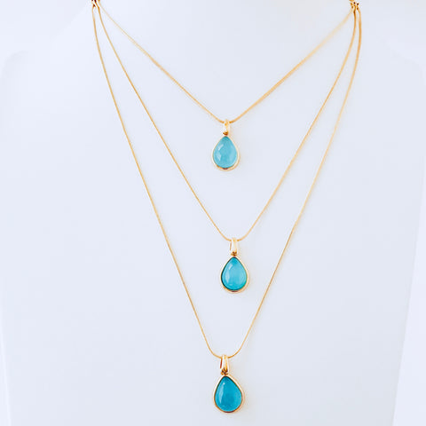 Cayman Blue Sky Agate Layered Necklace