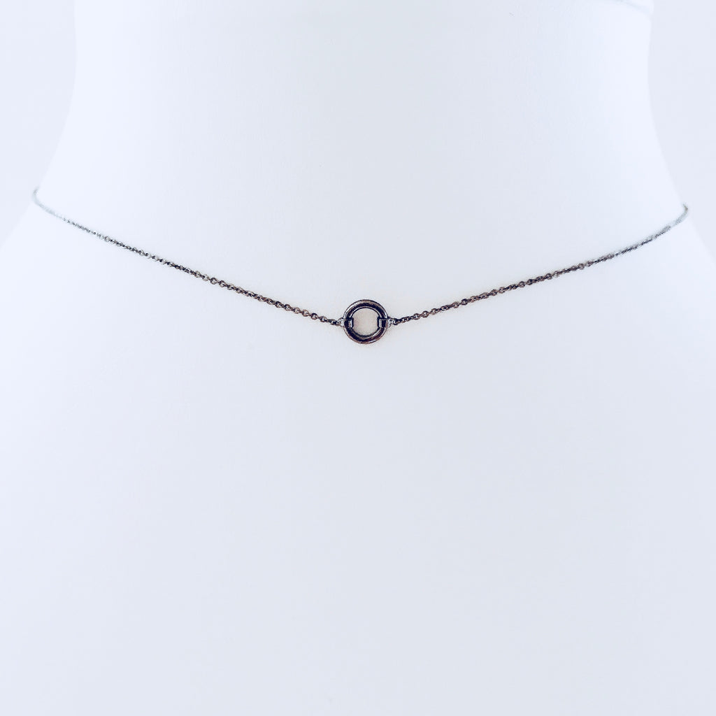 Black Rhodium Circle Necklace Small