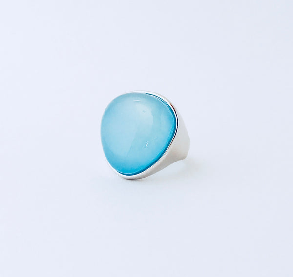 Cayman Blue Sky Agate Rhodium Ring