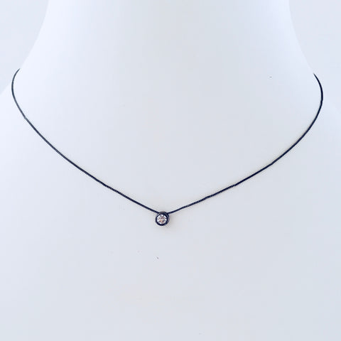 Zirconia Black Rhodium Necklace - Small Pendant