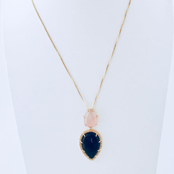 Barcelona Pink Quartz & Smoky Obsidian Necklace