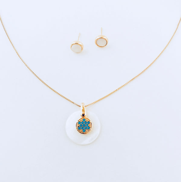 Sydney Mother of Pearl Necklace & Nano Turquoise Earring Set