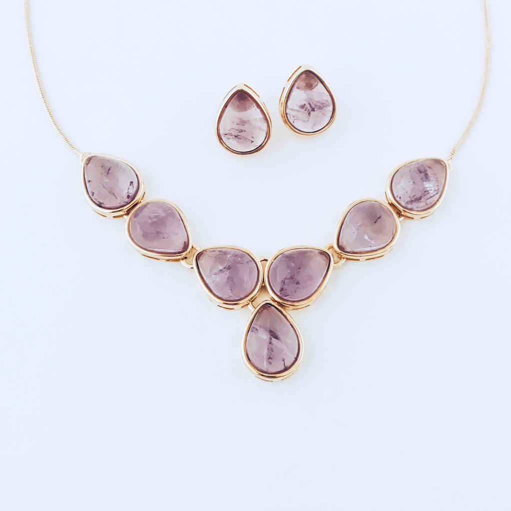 Amethyst Necklace & Earring Set