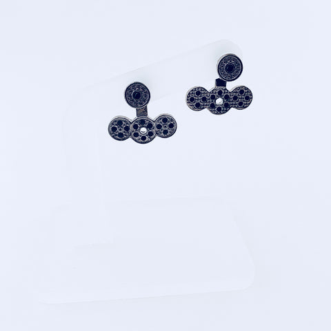 NYC Black Crystal Jacket Earring