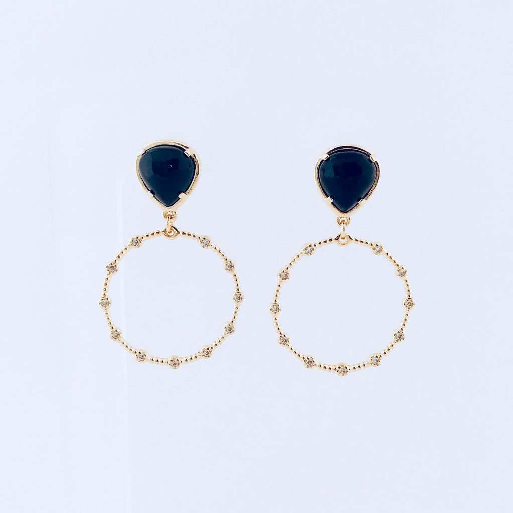London Black Agate Hoop Earring