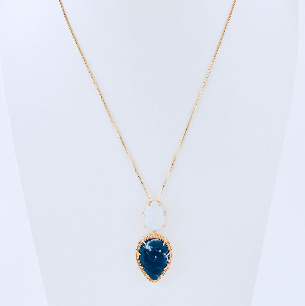gemstone shaped collection necklace shop smooth beadage abstract stone teardrop unique natural necklaces pattern sodalite blue