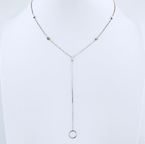 Austin Rhodium Circle Drop Necklace