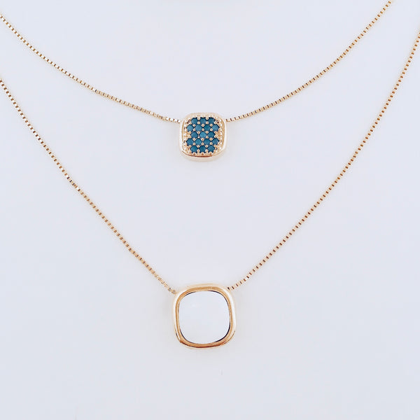 NYC Nano Turquoise & Mother of Pearl Layered Necklace