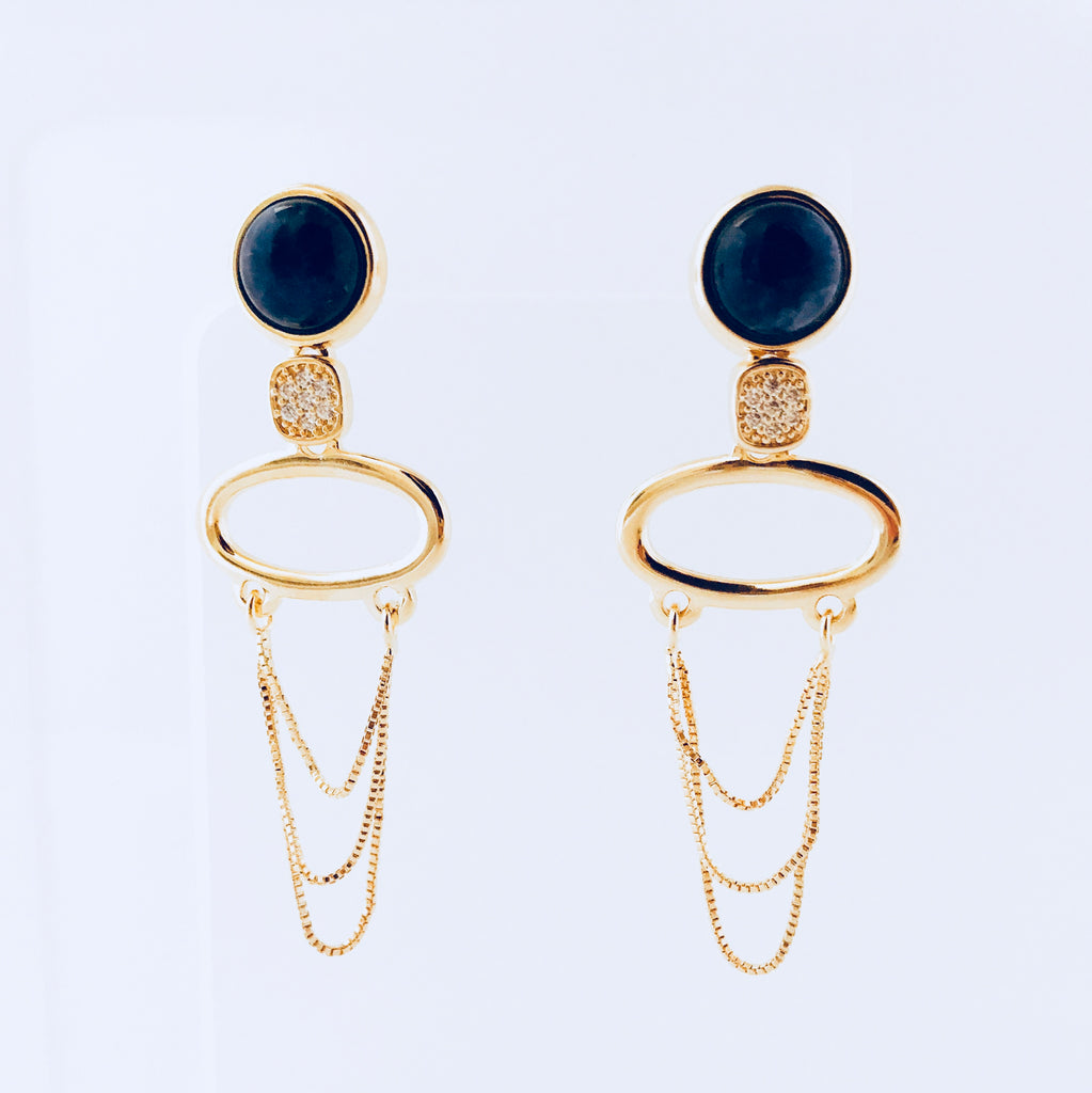 NYC Blue Sodalite & Zirconia Earring