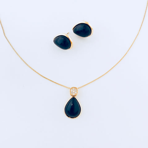 Black Agate Necklace & Earring Set