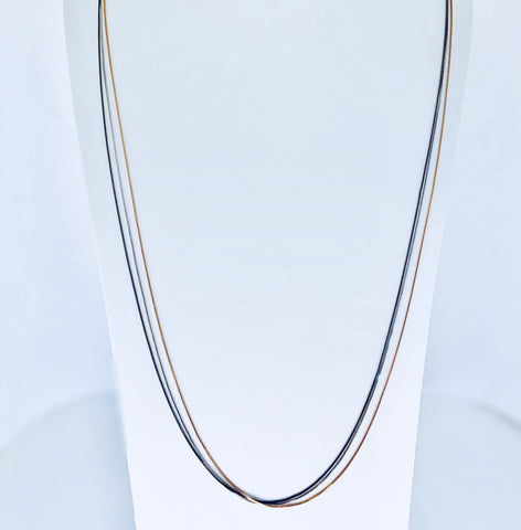 Austin Black Rhodium, Rose Gold & Rhodium Long Necklace