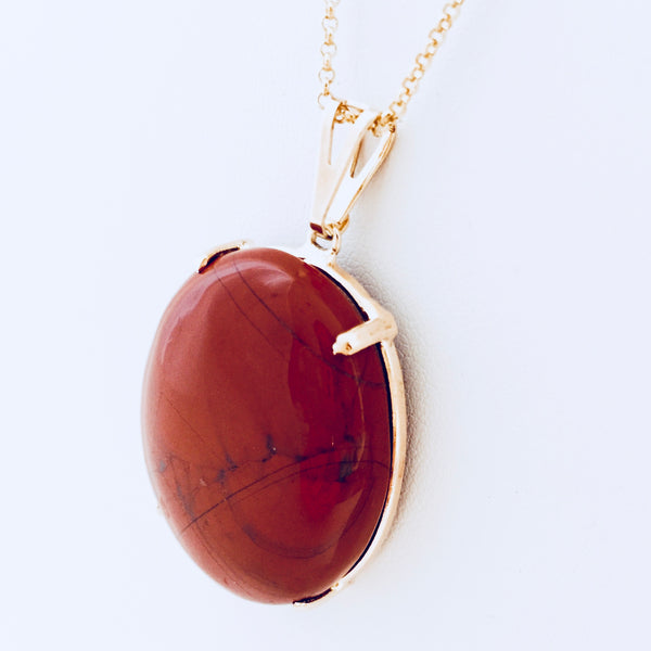 Red Jasper Long Chain Necklace
