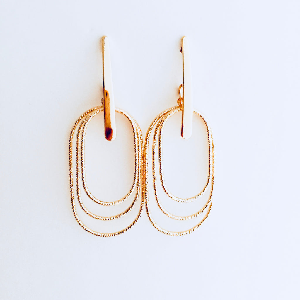 Gold Rounded Drop Layered Earring