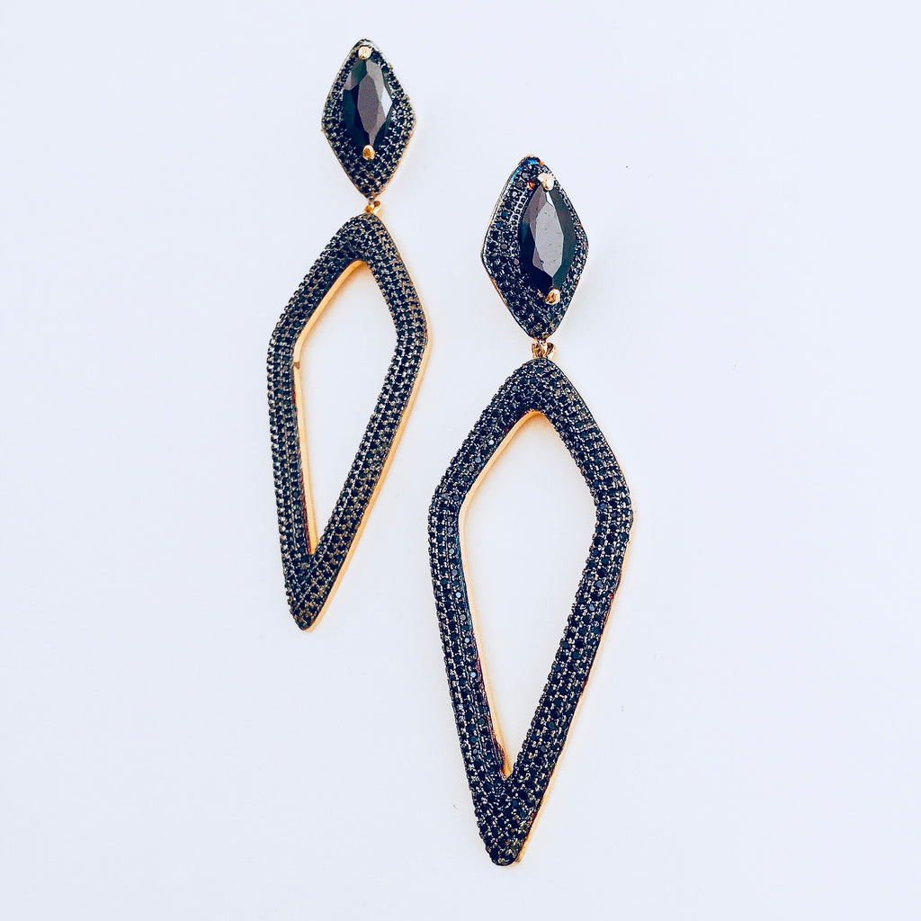 NYC Black Micro Zirconia Dangle Earring