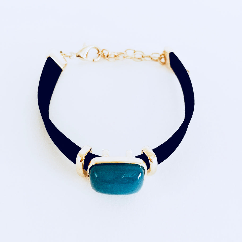 Sky Blue Agate Faux Leather Bracelet
