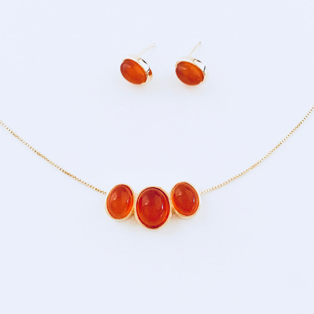 Sydney Red Agate Necklace & Earring Set