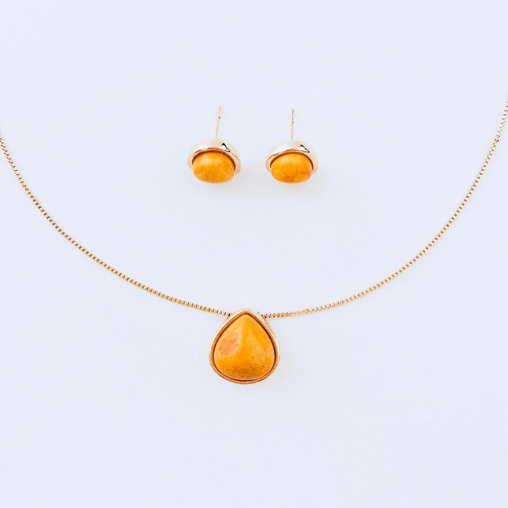 Yellow Howlite Necklace & Earring Set
