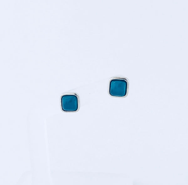 NYC Blue Sky Agate Rhodium Stud Earring