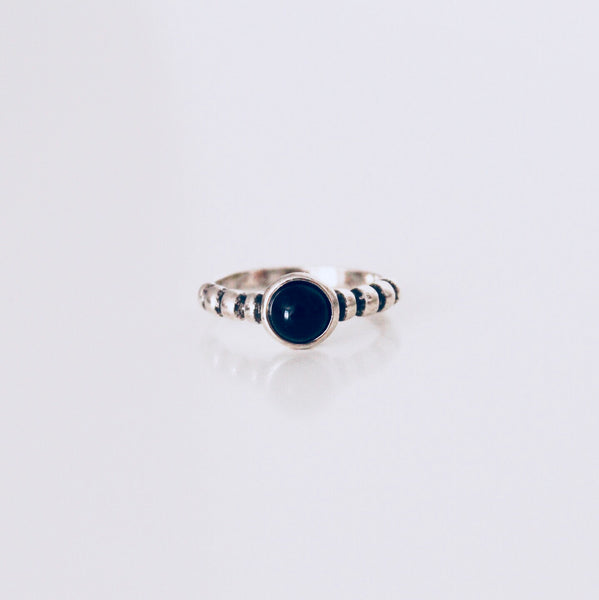 Austin Black Agate Rhodium Ring