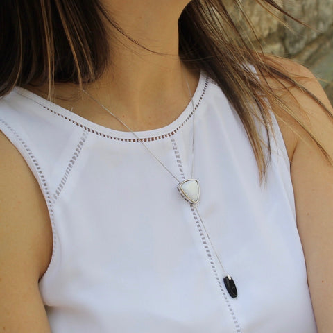 Tokyo Mother of Pearl & Black Agate Rhodium Necklace