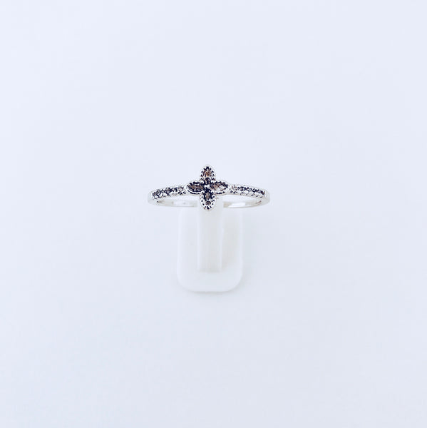 Austin Rhodium Zirconia Four Leaf Clover Ring