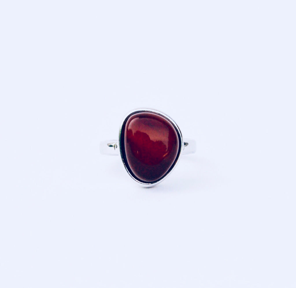 Cayman Red Agate Rhodium Ring