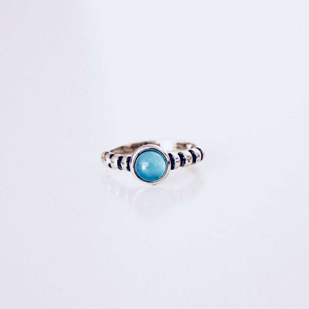 Austin Blue Sky Agate Rhodium Ring