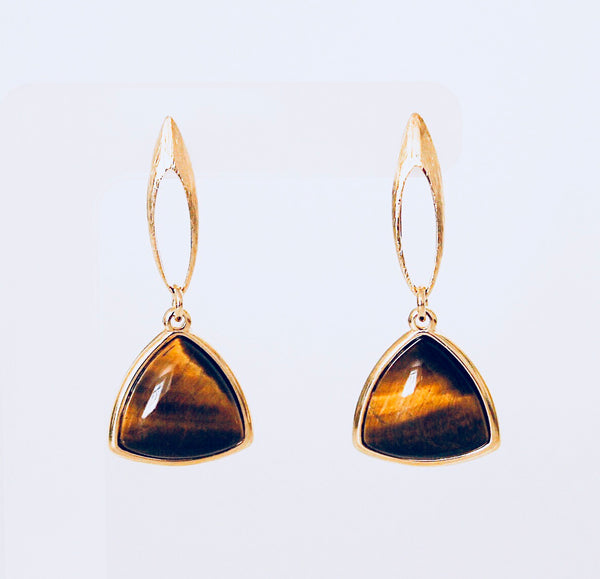 Tokyo Tiger's Eye Triangle Earring