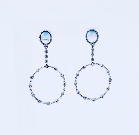London Opaline Rhodium  Earring