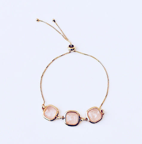 NYC Pink Quartz Gold Bracelet