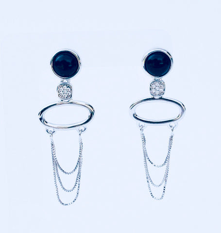 NYC Black Agate Rhodium Earring