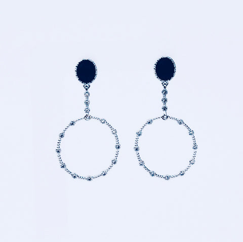London Black Agate Rhodium  Earring