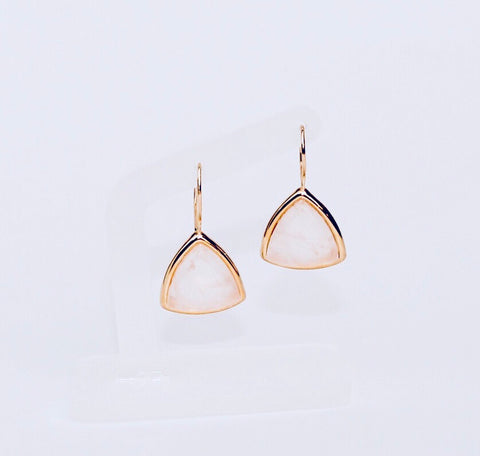 Tokyo Pink Quartz Triangle Earring