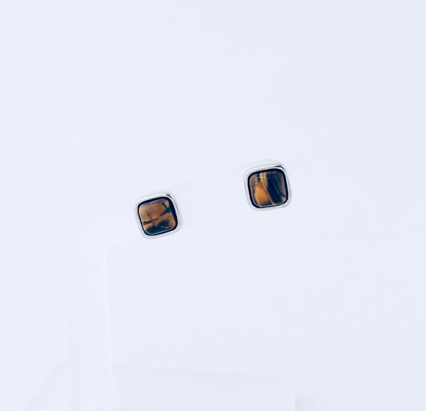 NYC Tiger's Eye Rhodium Stud Earring
