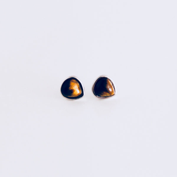 Mykonos Tiger's Eye Rhodium Stud Earring