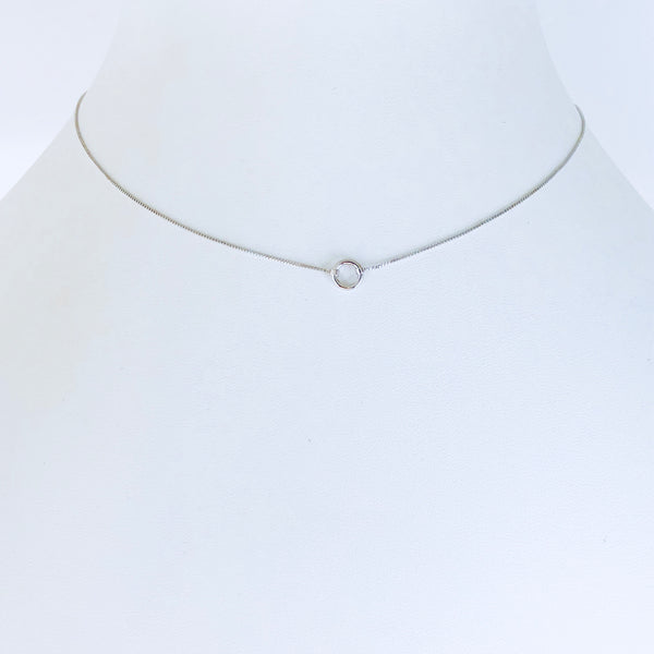 Austin Rhodium Circle Necklace Small