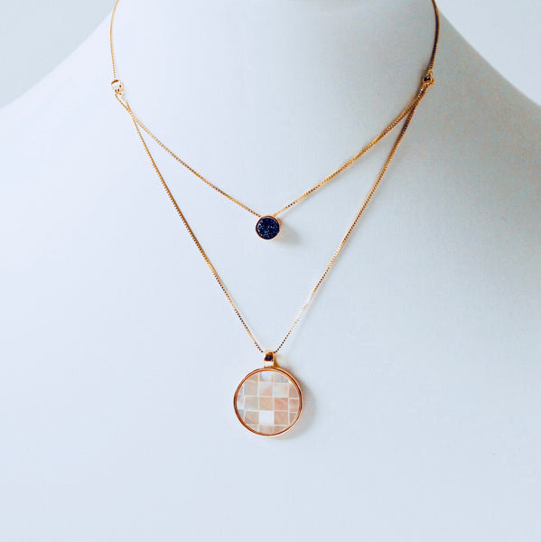 Mosaic Mother of Pearl & Druzy Layered Necklace