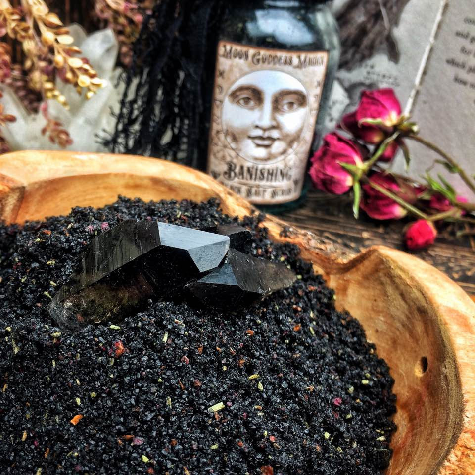 Banishing Black Salt Scrub~ Witches Salt~ Great for Spiritual Readers~ Pagan~Moon Goddess Magick~ Absorbs Negativity - Moon Goddess Magick Apothecary
