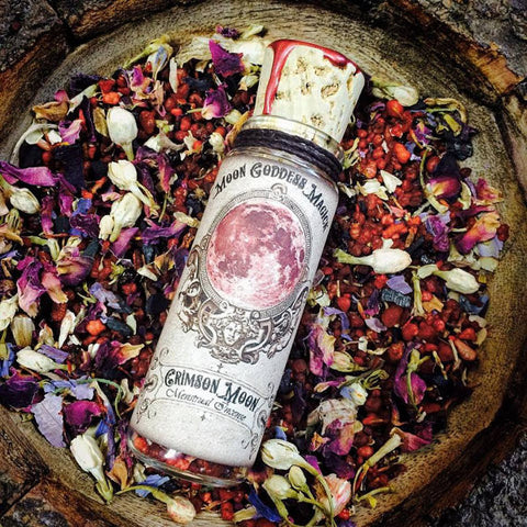Crimson Moon~ Menstrual Incense for Honoring your Sacred Cycle~ Moon Time ~ Sacred Womb Honoring ~ Yoni Magick 1oz Glass Bottle - Moon Goddess Magick Apothecary