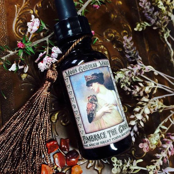Embrace the Crone~ Natural and Organic Hormonal balance for Menopause~ Divine scent~ Crone Magick~ 1oz bottle~ Crystal Charged with Carnelian~ - Moon Goddess Magick Apothecary